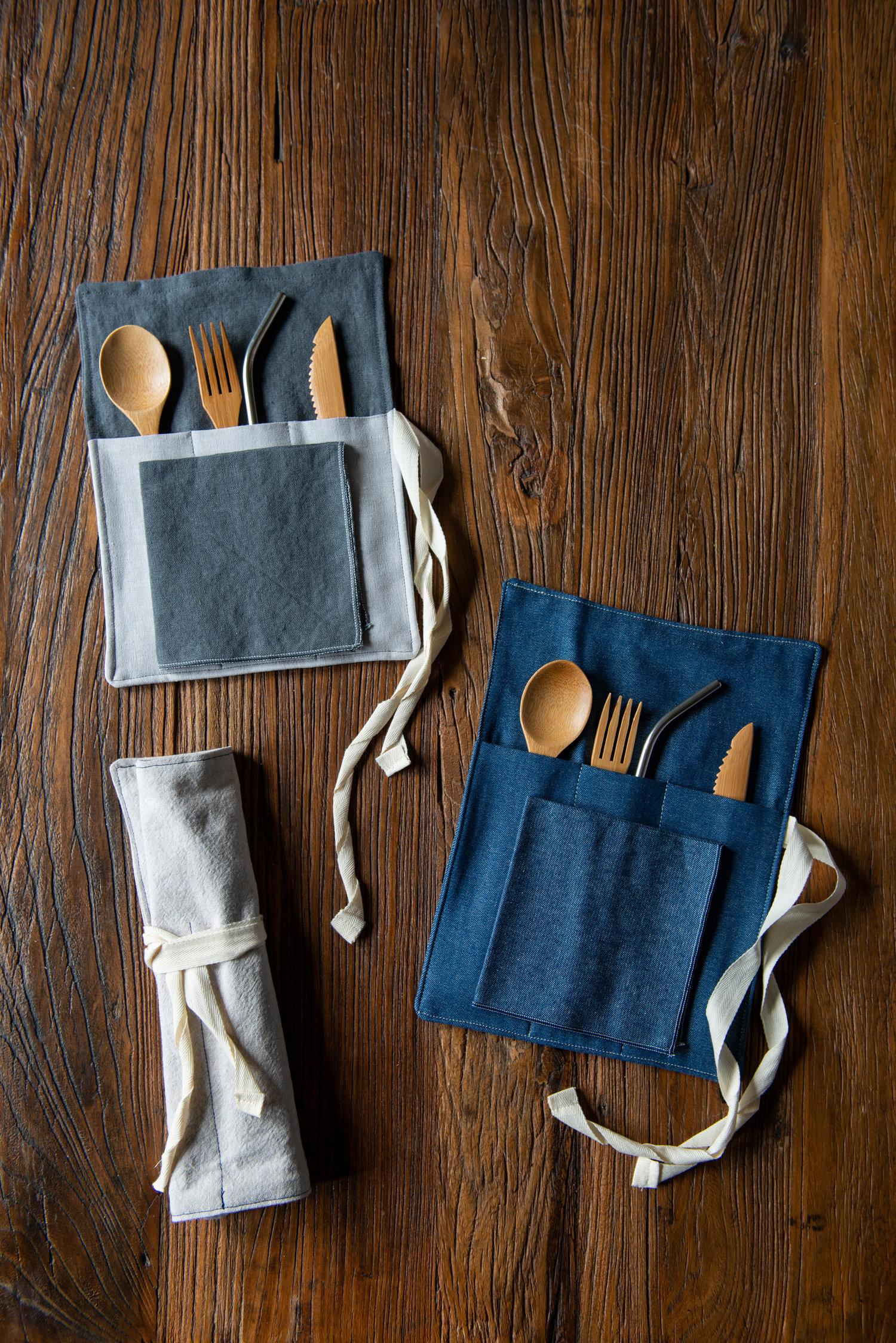 Zero Waste Utensil Wrap Blue Linen For On The Go Eco