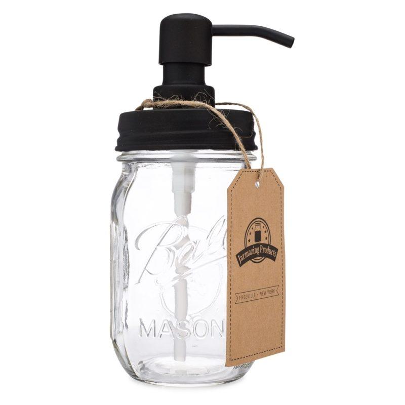 Jarmazing Products Mason Jar Soap Dispenser Lids 12 Pack Plastic Black for All Regular Mouth Jars